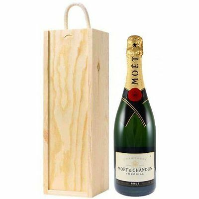 Moet ChandonNV Champagne wooden presentation box with handle 75cl perfect gift