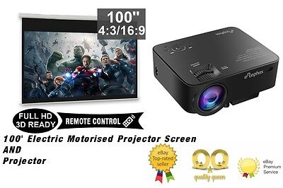 """Home Cinema Projector with HDMI and Electric Motorised 100"""" Projector Screen NEW"""