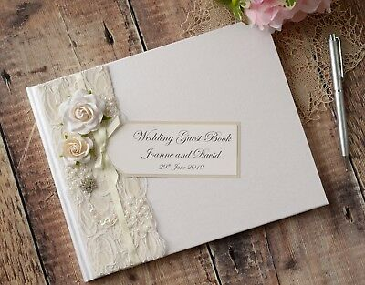 Personalised Wedding Guest Book. Luxury Vintage Style Rose, Lace & Jewel Design.