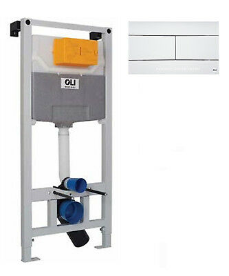 WC frame system flush-mounted cistern OLI 120 with Control plate Slim white