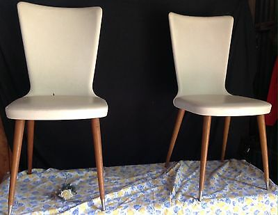 Vintage Pair Cream French Dining Chairs Vynal Look Retro