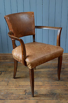 Superb Art Deco French Leather Bridge Chair  Desk Chair Can Deliver