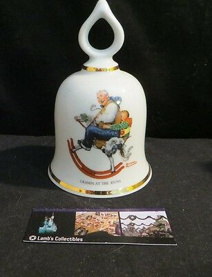 Norman Rockwell ceramic bell Gramps at the Reigns Danbury Mint 1979