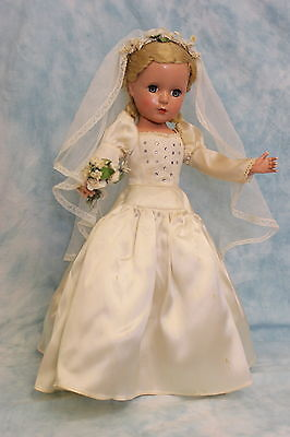 17 inch Margaret Face Madame Alexander HP 1950s Bride Orig gown,veil, hairset