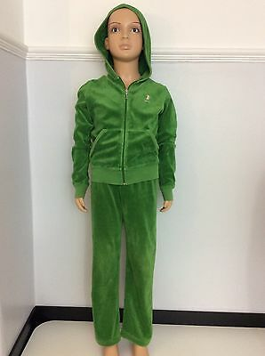 JUICY COUTURE green Velour Tracksuit Age 8 Years Hoodie Jogging  Bottoms