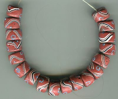African Trade beads Vintage Venetian glass rare brown roundel fancy
