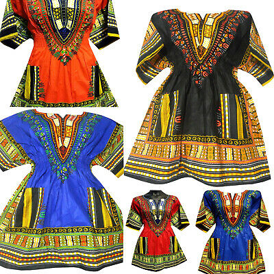 Elastic Waist Dashiki Blouse Women Short Traditional Dress African Top Shirt 1Sz