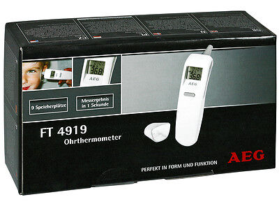 ♥ Aeg Ft 4919 Ohrthermometer ○ Ohr Fieber Thermometer ○ Lcd-Display ○ Stoppuhr ♥