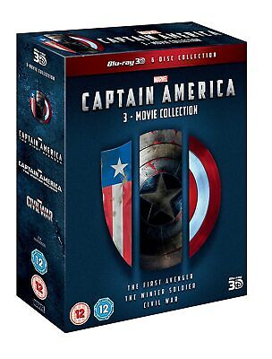 CAPTAIN AMERICA 1-3 Movie Collection [Blu-ray 3D + 2D] Marvel Trilogy 1 2 3 Set