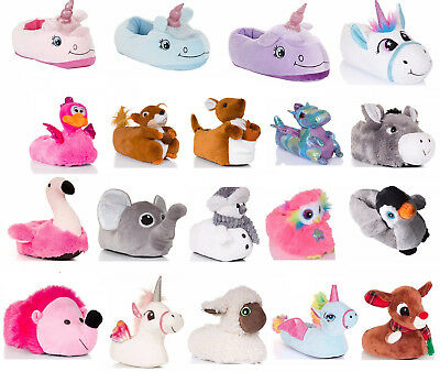 Womens Girls Novelty 3D Sloth Slippers Plush Character Booties Mini Me Size