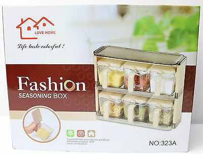 New 6 Pcs Seasoning Containers with Holder 20998