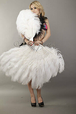 """White 2 layers Ostrich Feather Fan 30""""x 54"""" with Travel Bag Burlesque friends"""