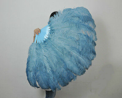 "Baby Blue 2 layers Ostrich Feather Fan Burlesque dancer 30""x 54"" gift box"