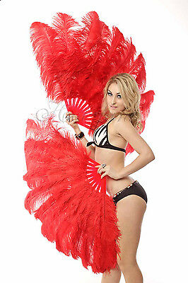 "Red 2 layers Ostrich Feather Fan Burlesque dancer friends 30""x 54"" gift box"