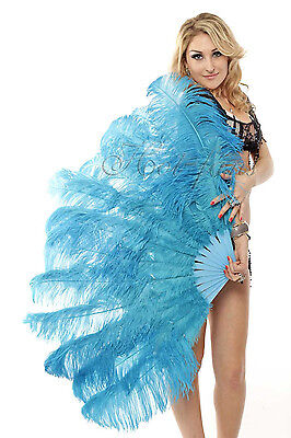 "Turquoise 2 layers Ostrich Feather Fan Burlesque dancer friend 30""x 54"" gift box"