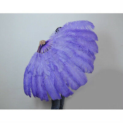 "Aqua Violet 2 layers Ostrich Feather Fan Burlesque dancer  30""x 54"" gift box"