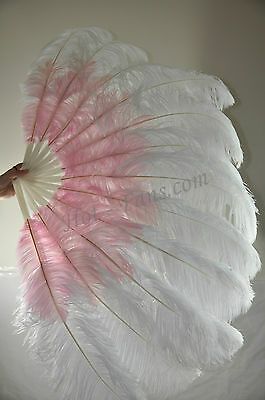 "Custom Colors Combined Double Layers Ostrich Feather Fan 30""x 54"" Burlesque"