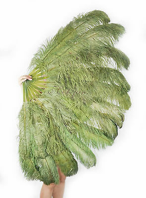 XL 2 layers olive green Ostrich Feather Fan Burlesque dancer perform friend 60""