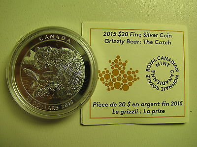 2015 Proof $20 Grizzly Bear #1-The Catch Canada COIN&COA ONLY .9999 silver twent