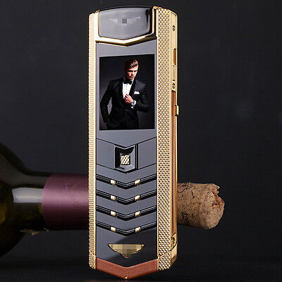 Brown Classical Fashion Business Bar Thin Luxury Leather Mobile Cell phone Mp3