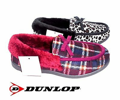 Ladies Dunlop Warm Slippers New Leopard Check Luxury House Shoes Size 3 - 8