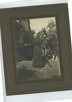 Antique Cabinet Photo Old Woman with Crutch Child on Horse