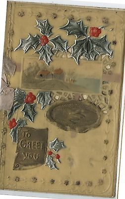Antique Celluloid Christmas Card To Greet You