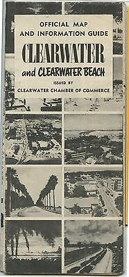 Old 1950's Clearwater Florida Official Map & Information Guide