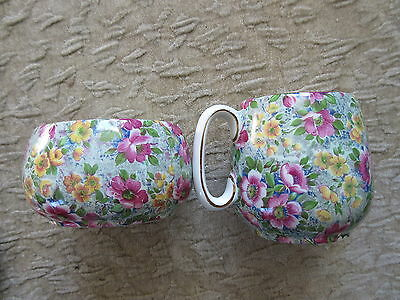 Old Vintage Lord Nelson Ware Briar Rose Chintz Cream & Sugar