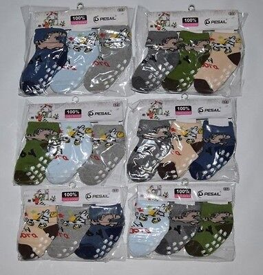 3 x Baby Kids Boys Toddler Anti-Slip Socks Thick Warm Sizes:0-1 1-2 2-3 Years