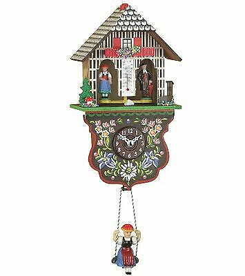 Kuckulino Black Forest Clock weather house with quartz movement and cuckoo ch...