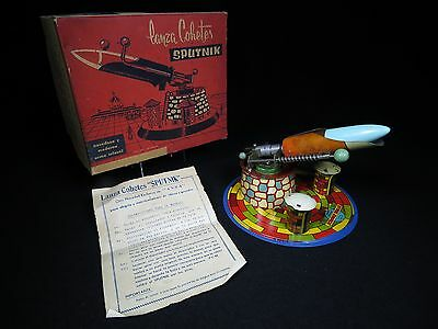 Lanza Cohetes Sputnik Missile Launch Rocket Tin Litho Space Toy Boxed Works