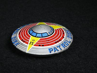 Scarce Space Flying Sauce Patrol Disk Sd 15 Tin Litho Friction Toy Kht Japan