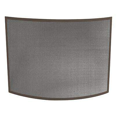 UniFlame Curved Single Panel Fireplace Screen Heavy Steel Frame Wrought Iron