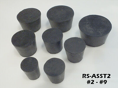 Black Solid Rubber Laboratory Stoppers Assortment Sizes 2 3 4 5 6 7 8 9 RS-ASST2