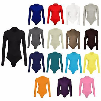 Womens Turtle Polo Neck Bodysuit Leotard Long Sleeve Top