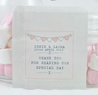 Personalised Love White Paper Sweet Bags - Wedding Favour Buffet Candy
