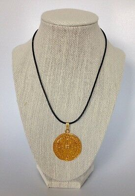 Handmade Leather Cord Necklace with 24K Gold Plated Aztec Calendar Pendant
