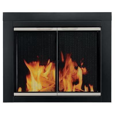 Pleasant Hearth Alsip Small Fireplace Clear Glass Doors Welded Frame Nickel Trim
