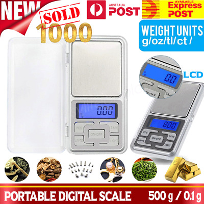 Precision Digital Pocket Jewelry Scales 0.1g 500g Weight Mini Electronic Lab LCD