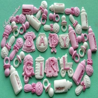 37 Edible sugar decorations baby girl shower christening cake cupcake toppers