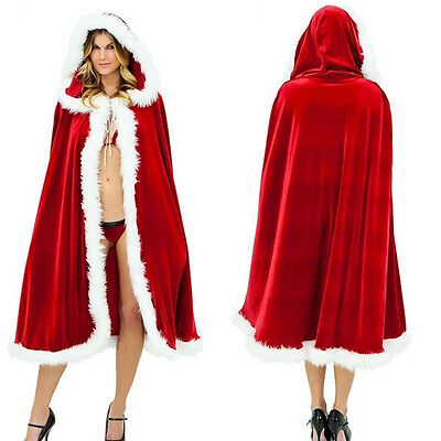 Santa Father Hooded Cloaks Christmas Party Cosplay Winter Costume Velvet Cape