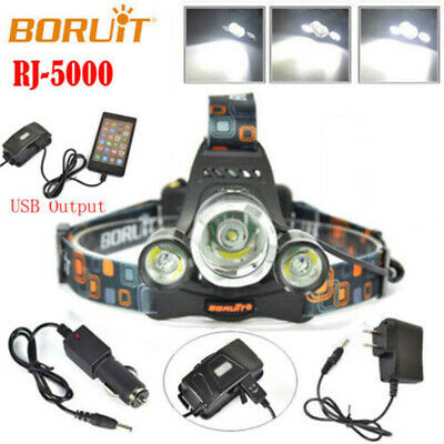 BORUiT 80000LM 3xXML T6 LED Headlamp Flashlight Headlight 18650 Torch Work Light