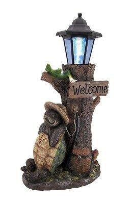 "18"" Height Turtle and Frog Resting Solar LED Lantern Statue Garden Path Walk"