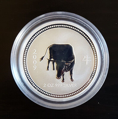 Perth Mint 2oz Silver coin 2007 2009 lunar Ox RARE series 1Mint Condition