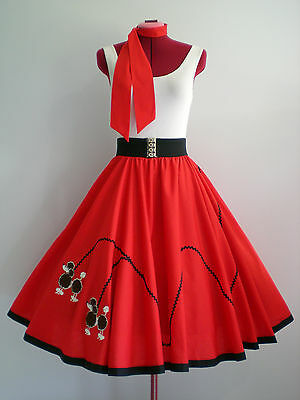 """ROCK N ROLL/ROCKABILLY  """"POODLE"""" SKIRT & SCARF S-M Red."""