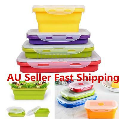 4pcs Eco-friendly Silicone Travel Collapsible Lunch Boxes Folding Food Container
