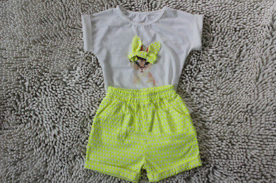 Girls Cat Themed Yellow Shorts and Top 2 Piece. FREE shipping within the UK!
