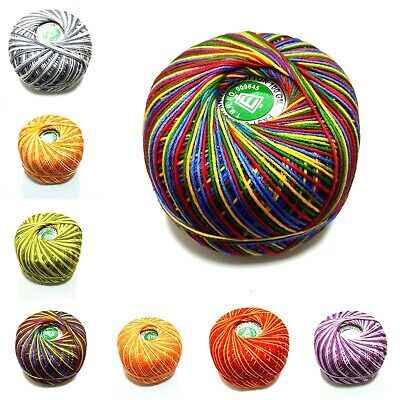 100 Grams SHADED Cotton Thread Yarn Mercerized Knitting Crochet Lace Embroidery