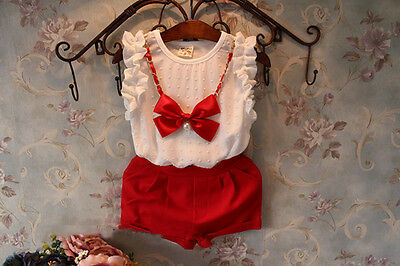 Girls Red White Shorts Top Set with Bow Necklace. FREE shipping within the UK!